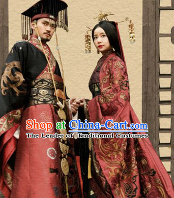 Chinese Ancient Han Dynasty Empress and Emperor Stage Costumes and Hair Accessories Complete Set
