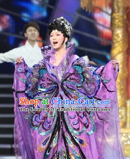 Chinese Ancient Imperial Opera Butterfly Empress Stage Costumes Complete Set