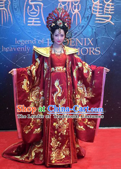 Chinese Ancient Empress Dresses and Hair Accessories Complete Set