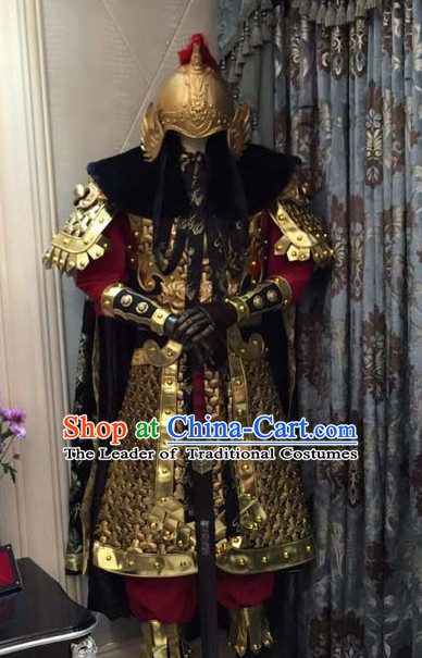 Ancient Chinese Emperor Armor Body Armors Royal Dresses Imperial Princess Robe Clothes Complete Set