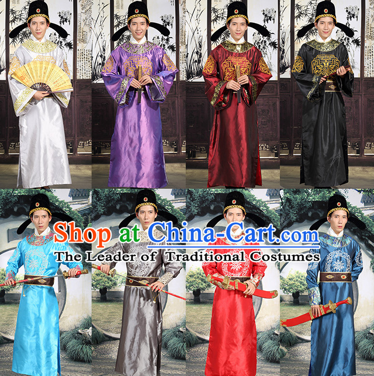 Tang Dynasty Prime Minster Official Costumes and Hat Complete Set