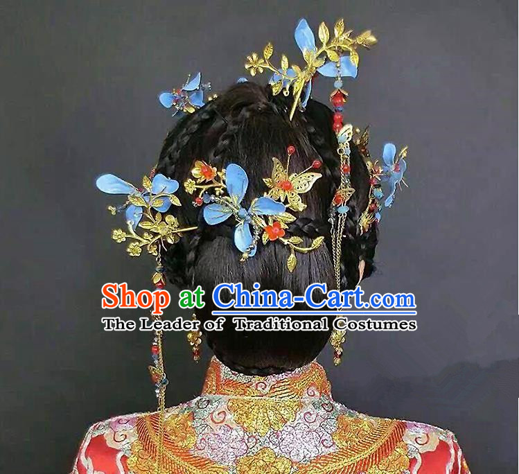 Chinese Ancient Style Hair Jewelry Accessories, Hairpins, Princess Hanfu Xiuhe Suit Wedding Bride Hair Accessories Set for Women