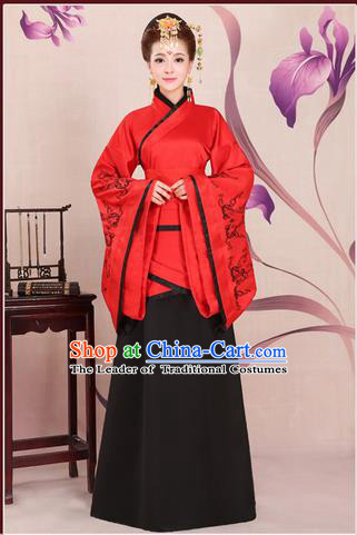 Ancient Chinese Palace Empress Costumes Complete Set, Han Dynasty, Ancient Palace Wedding Princess Hanfu Dress Suits For Women