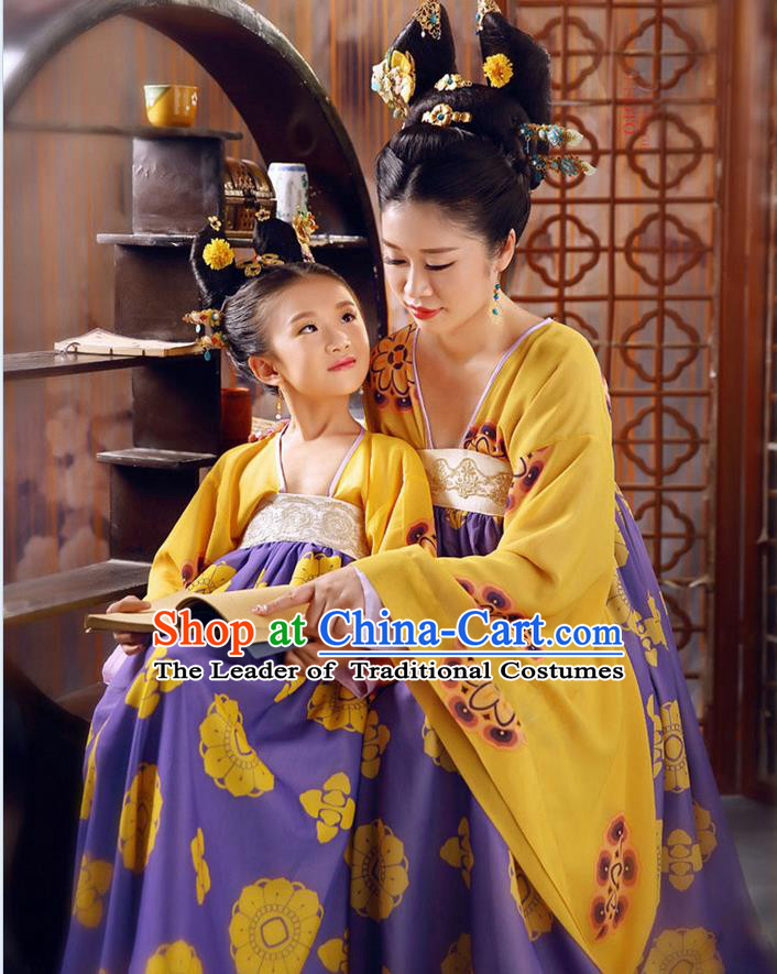 Ancient Chinese Palace Empress Costumes Complete Set, Tang Dynasty Ancient Palace Princess Clothing, Wu Meiniang Dress Suits