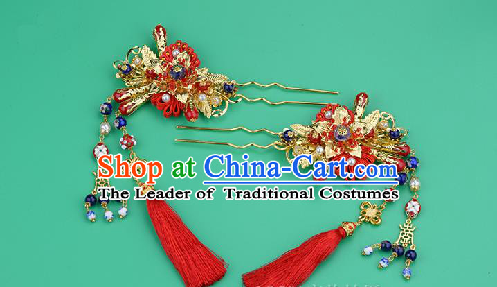 Chinese Ancient Style Hair Jewelry Accessories, Hairpins, Princess Hanfu Xiuhe Suit Wedding Bride Hair Accessories for Women