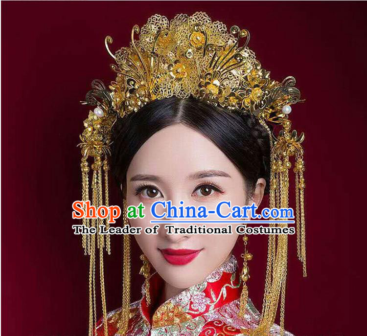 Chinese Ancient Style Hair Jewelry Accessories, Hairpins, Princess Hanfu Xiuhe Suit Wedding Bride Hair Accessories, Headwear Set for Women