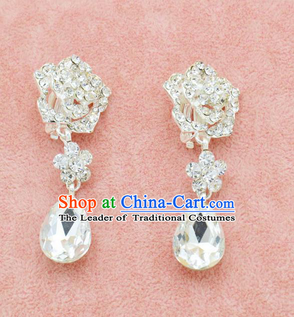 Traditional Wedding Jewelry Accessories, Palace Princess Bride Accessories, Wedding Earring, Baroco Style Crystal Earrings for Women