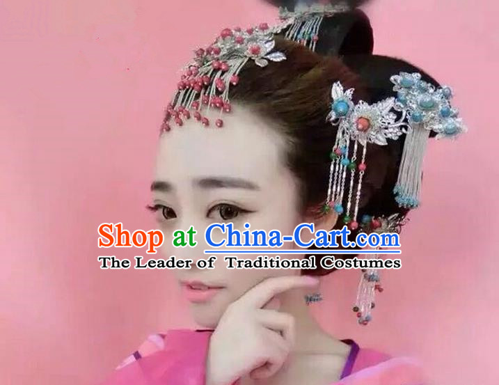 Chinese Ancient Style Hair Jewelry Accessories, Hairpins, Hanfu Xiuhe Suits Wedding Bride Headwear, Headdress, Imperial Empress Handmade Phoenix Hair Fascinators for Women