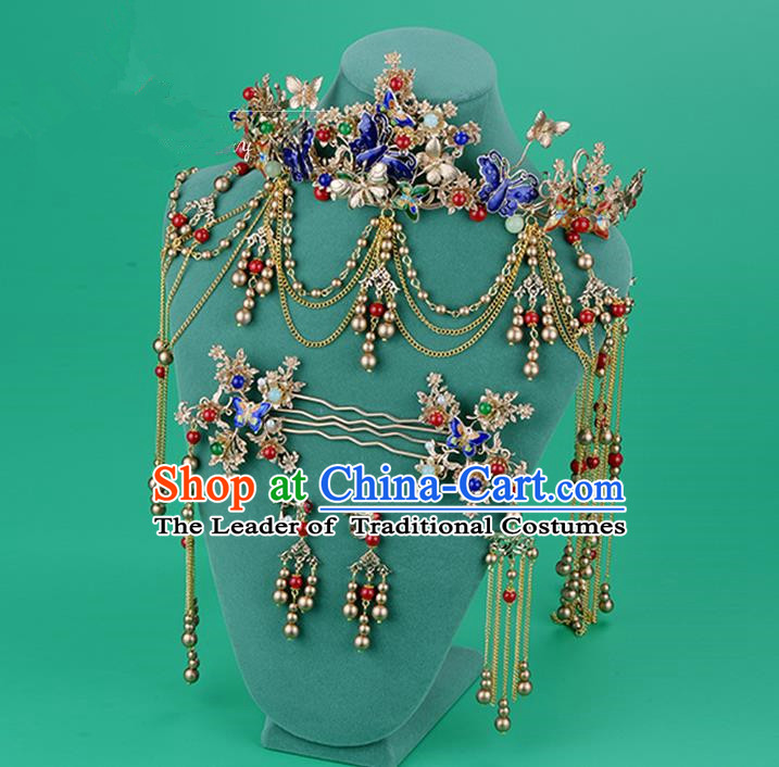 Chinese Ancient Style Hair Jewelry Accessories, Hairpins, Hanfu Xiuhe Suits Wedding Bride Headwear, Cloisonn Headdress, Imperial Empress Handmade Hair Fascinators for Women
