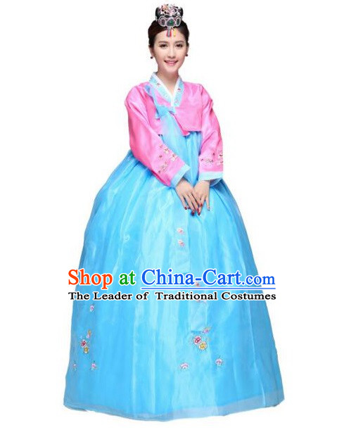 Korean Traditional Costumes Bride Dress Wedding Clothes Korean Full Dress Formal Attire Ceremonial Dress Court Stage Dancing Blue Top Red Skirt