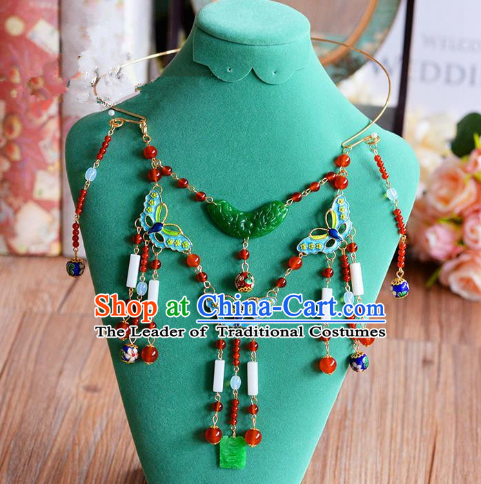 Chinese Ancient Style Hair Jewelry Accessories, Jade Collar, Hanfu Xiuhe Suits Wedding Bride Necklace for Women
