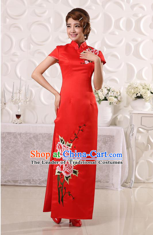Ancient Chinese Costumes, Manchu Clothing Qipao, Retro Mandarin Collar Embroidered Long Silk Cheongsam, Traditional Red Cheongsam Wedding Toast Dress for Bride