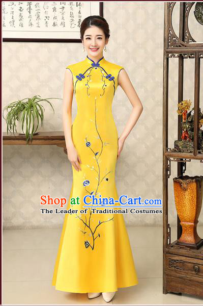 Ancient Chinese Costumes, Manchu Clothing Qipao, Retro Mandarin Collar Embroidered Silk Long Cheongsam, Traditional Fish Tail Cheongsam Wedding Toast Dress for Bride