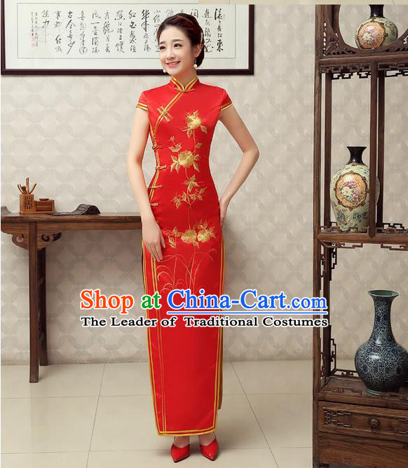 Ancient Chinese Costumes, Manchu Clothing Qipao, Improved Mandarin Collar Embroidered Silk Long Cheongsam, Traditional Red Cheongsam Wedding Toast Dress for Bride