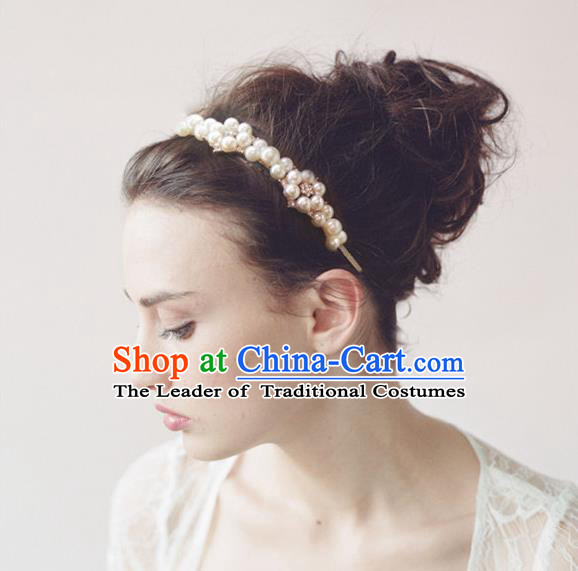 Chinese Wedding Jewelry Accessories, Traditional Bride Headwear, Wedding Tiaras, Imperial Bridal Wedding Pearl Crystal Hair Clasp