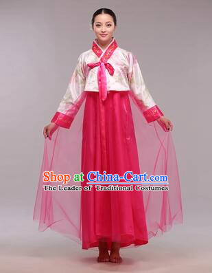 Korean Traditional Dress Women Clothes Show Costumes Korean Traditional Dress Show Stage Dancing Long Skirt White Top Red Skirt