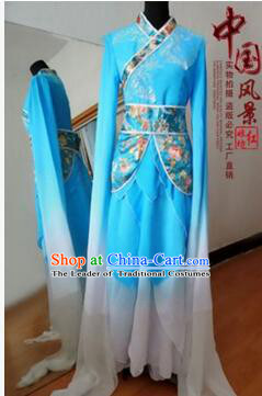 Chinese Traditional Costume Empresses in the Palace Water Sleeves Qi Xian nv Dancing Clothes Jing Hong Wu Blue