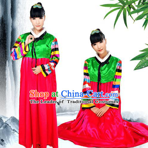 Traditional Chinese Korean Nationality Dancing Costume, Koreans Female Folk Dance Ethnic Dress, Chinese Minority Nationality Costume for Women