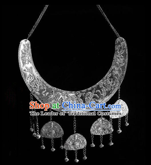 Traditional Chinese Miao Nationality Necklace, Hmong Folk Wedding Silver Collar for Women