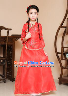 Chinese Traditional Dress for Children Girl Kid Min Guo Clothes Ancient Chinese Costume Stage Show Red
