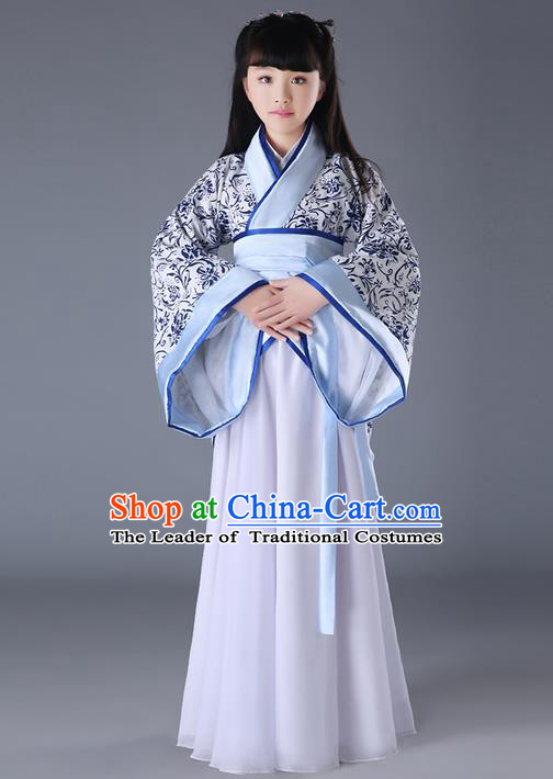Traditional Chinese Acient Hanfu Costume, Chinese Ancient Han Dynasty Dance Costume for Kids
