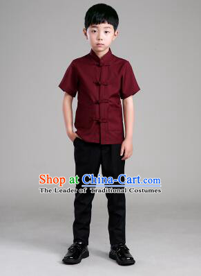 Chinese Traditional Clothes for Children Boy Short Sleeves Tang Suit Show Stage Costume Claret