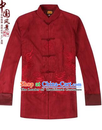 Tang Suit for Men Coat Long Sleeves Chinese Style Dress Traditional Top Chinese Loong Embroidery Ceremonial Full Clothes Red
