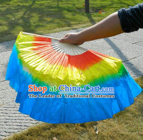 Traditional Chinese Yangge Fans, Silk Traditional Chinese Fans Oriental Fan Folk Dance Dance Ribbons Cultural Dances Hand Fan Minimum Purchase 10