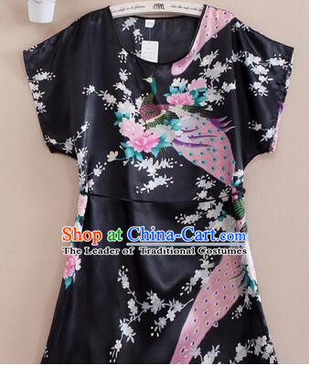 Night Suit for Women Night Gown Bedgown Leisure Wear Home Clothes Chinese Traditional Style Peacock Black