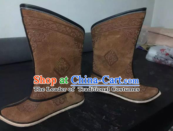 Traditional Chinese Minority Mongol Nationality Ethnic Minorities Mongolian Dance Cowhide Boots Mongolian Knee Embroidery Boots Jockey Boots Tanks Boots for Men