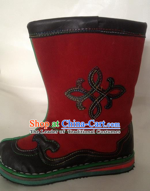 Traditional Chinese Minority Mongol Nationality Ethnic Minorities Mongolian Dance Cowhide Boots Mongolian Children Knee Embroidery Boots Jockey Boots Tanks Boots for Kids
