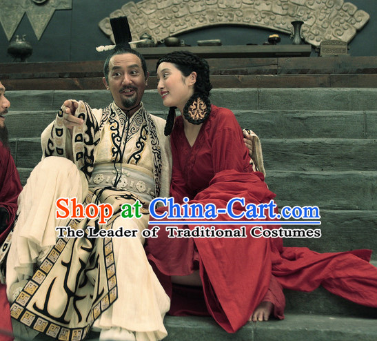 Chinese Ancient Film Costumes Emperor Long Robes and Coronet Complete Set for Men