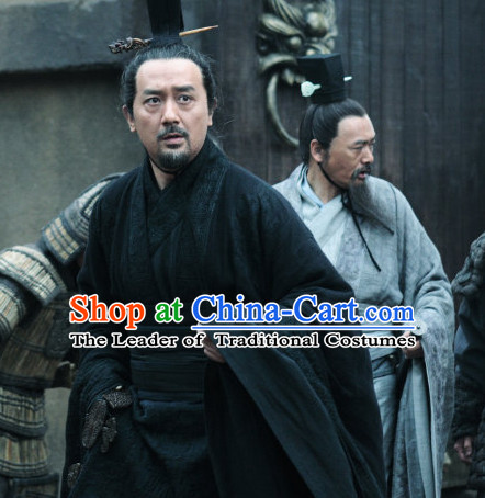 Chinese Ancient Film Costumes Prime Minister Long Robes and Coronet Complete Set for Men