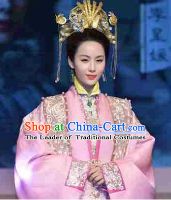 Chinese Ancient Film Ming Dynasty Costumes Princess Clothes and Coronet Complete Set for Women