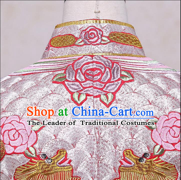 Ancient Chinese Costume Xiuhe Suits Chinese Style Wedding Dress Red Ancient Retro Embroidery Longfeng Dragon And Phoenix Flown Bride Toast Cheongsam For Women