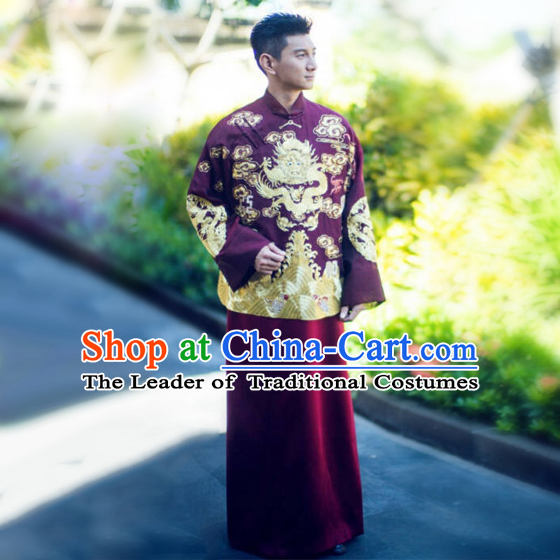Ancient Chinese Costume Chinese Style Wedding Dress, Red Restoring Ancient Dragon And Phoenix Flown, Groom Toast Clothing, Mandarin Jacket Tangsuit For Men