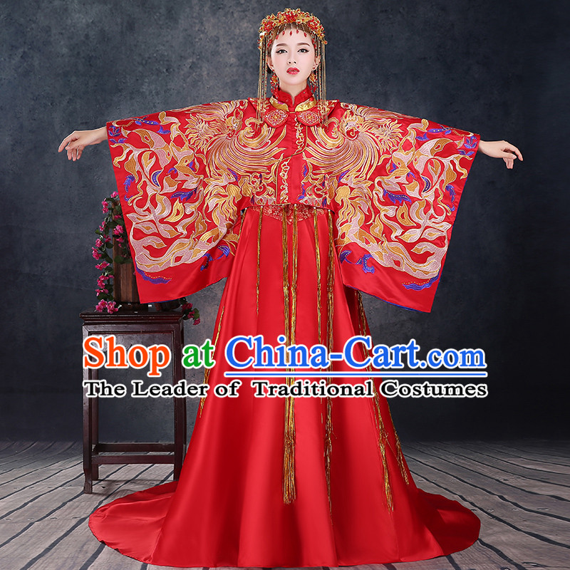 Ancient Chinese Costume Xiuhe Suits, Chinese Style Wedding Dress, Red Restoring Ancient Women Longfeng Dragon And Phoenix Flown, Bride Toast Cheongsam