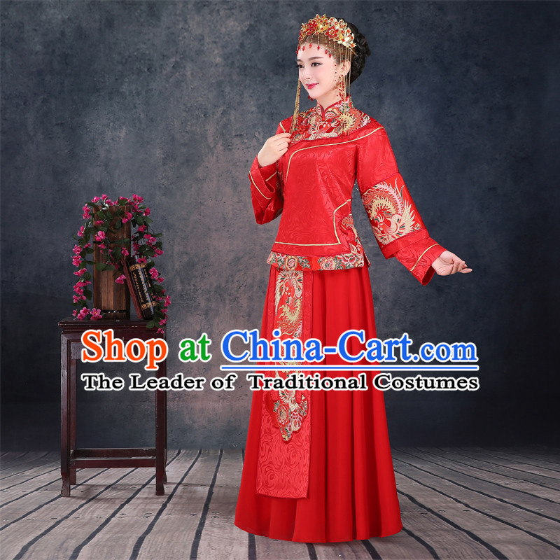 Ancient Chinese Costume Xiuhe Suits Chinese Style Wedding Dress Red Ancient Women Longfeng Dragon And Phoenix Flown Bride Toast Cheongsam