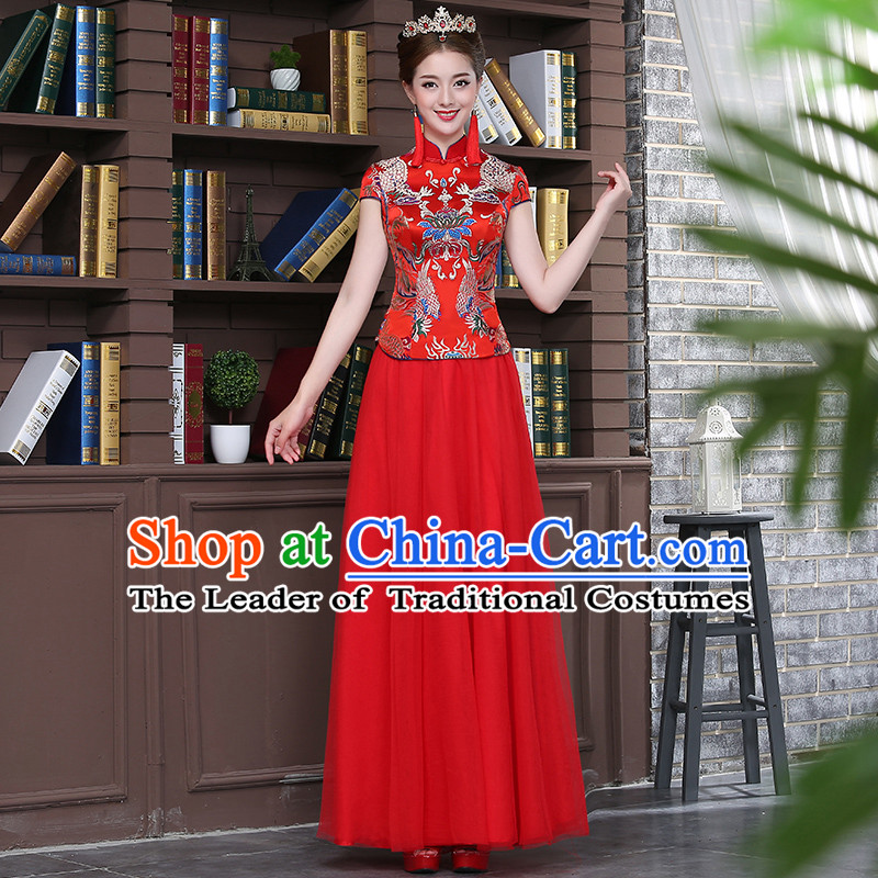 Ancient Chinese Costume Xiuhe Suits, Chinese Style Wedding Dress Red Ancient Retro Longfeng Dragon And Phoenix Flown, Bride Toast Cheongsam For Women