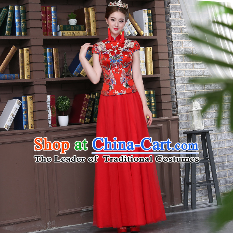 Ancient Chinese Costume Xiuhe Suits Chinese Style Wedding Dress Red Ancient Retro Longfeng Dragon And Phoenix Flown Bride Toast Cheongsam For Women
