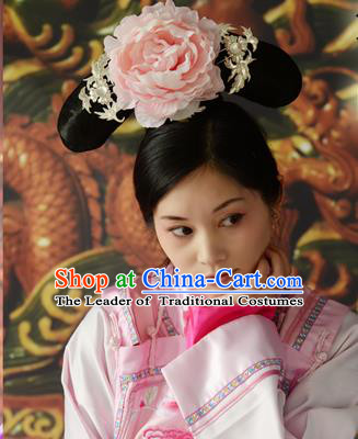 Chinese Qing Dynasty Qing Chuan Black Wigs and Headpieces