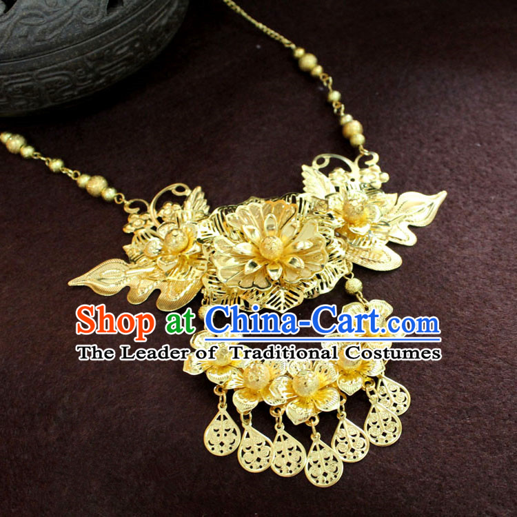 Chinese Imperial Quene Necklace, Empress Necklaces, Xiuhe Suit Hanfu Accessories For Women