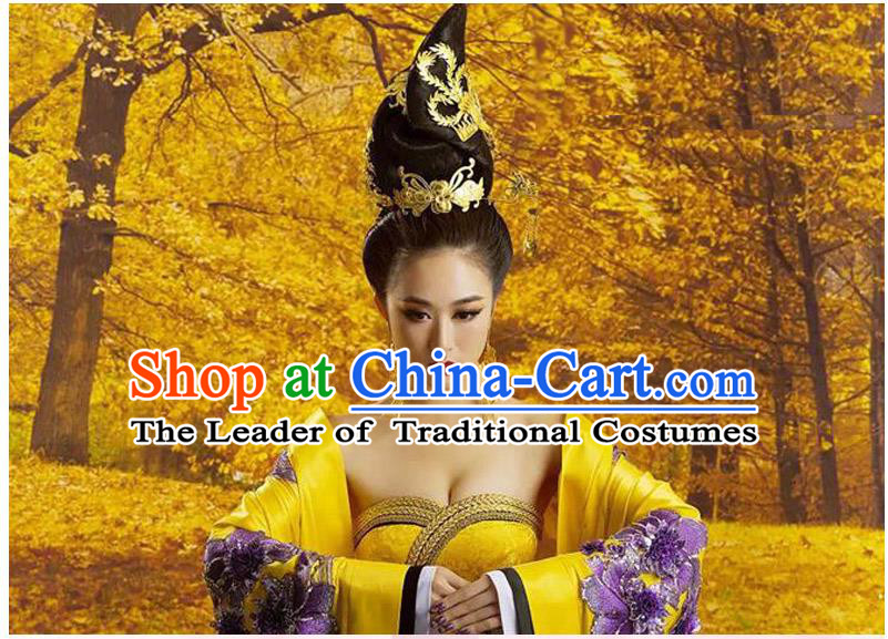 Ancient Chinese Palace Empress Costumes Complete Set, Tang Dynasty Ancient Palace Phoenix Wedding Dress For Women
