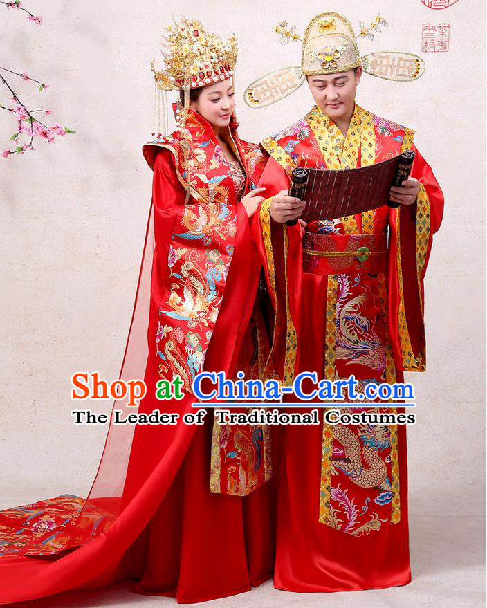 Ancient Chinese Palace Empress Costumes Complete Set, Hanfu, Tang Dynasty Ancient Palace Queen And Emperor Wedding Dress Suits