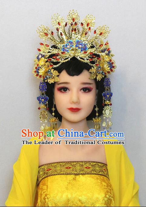 Chinese Ancient Style Hair Jewelry Accessories, Hairpins, Han Dynasty Cosplay Cloisonne Blueing Princess Hanfu Xiuhe Suit Wedding Bride Phoenix Coronet, Hair Accessories for Women
