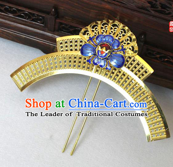 Chinese Ancient Style Hair Jewelry Accessories, Blueing Cloisonne Hairpins, Princess Hanfu Xiuhe Suit Wedding Bride Hair Accessories Set for Women