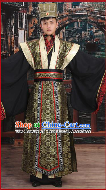 Ancient Chinese Palace Cosplay King Costumes Complete Set, Hanfu, Han Dynasty Traditional Palace Emperor Wedding Dress Suits For Men