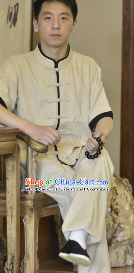 Top Classical Kung Fu Outfit Martial Arts Uniform Kung Fu Training Clothing Gongfu Flax Suits