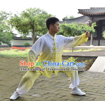 Top Color Transition Kung Fu Outfit Martial Arts Uniform Kung Fu Training Clothing Gongfu Flax Suits for Men Women Adults Children