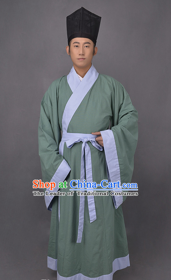 Chinese Style Dresses Kimono Dress Han Dynasty Outfit and Hat Complete Set for Men